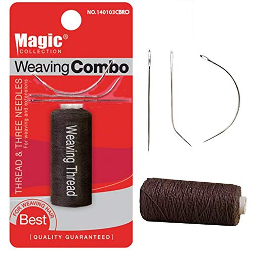 Magic Collection Weaving Combo Thread & Needles Set (1-PACK, BROWN)