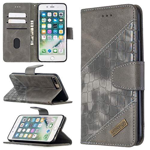 Funda protectora Estuche para iPhone 7 / 8PLUS Multifuncional Cartera Teléfono Móvil Caja de cuero Premium Color Sólido PU Caja de cuero, Titular de la tarjeta de crédito Función Función Caja plegable