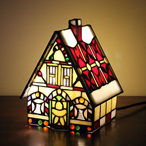 Gweat Lampe de table Red Little House Villa Lampe de chevet pour enfants