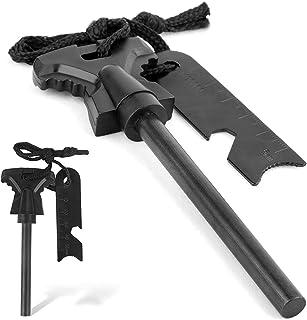 SLSESIN 2PCS Solid Flint Starter, Premium Waterproof 4.53 Inch Survival Ferro Rod with Easy Grip Handle and Multifunction ...