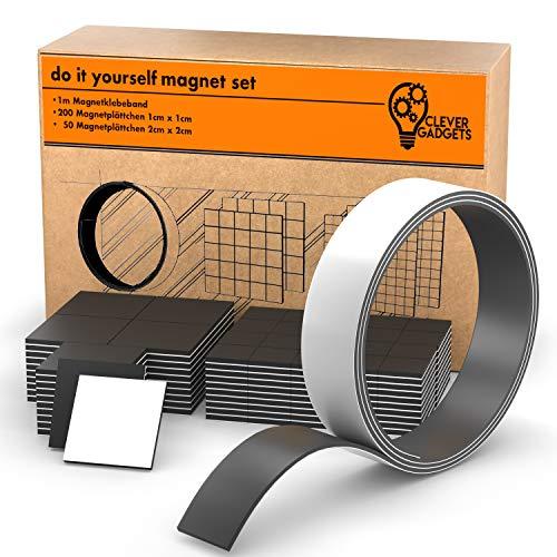 Clever Gadgets MAGNETSET | 250 Magnetplättchen (2x2cm & 1x1cm) + 1m Magnetband | 3 in 1| selbstklebend | zuschneidbar | schwarz | flach | Magnetstreifen | Magnetklebeband
