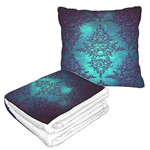 Manta de almohada de terciopelo suave 2 en 1 con bolsa suave, funda de almohada de damasco, color verde azulado a morado, para casa, avión, coche, viajes, películas