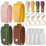 Hand Sanitizer Keychain Holder, Airoak 4 Pack Small Empty Travel Size Reusable Flip Cap Bottle for Soap Liquids Shampoo and Lotion- 30ML/1oz Refillable Containers Bottles with Case Carriers