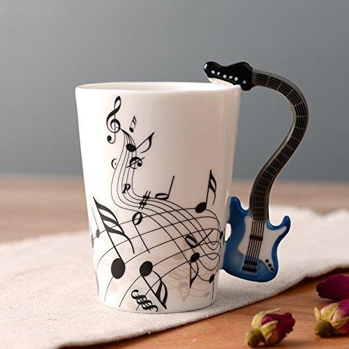 Kompassswc Lusitige Keramiktasse mit Motiv Henkel E-Gitarre Kaffeetasse Porzellan Tee Kaffeebecher Musiknoten Bedruckt Geschenk Tasse Ø7,5 H10cm 0,3L (Blau E-Gitarre)