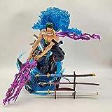 LYIETUR One Piece-Anime Figure-Personaje Roronoa Zoro Toys-Figurine Kids Anime Decoración Puede Brillar Adornos Regalos De Cumpleaños Estatua Coleccionable Roronoa Zoro-29CM