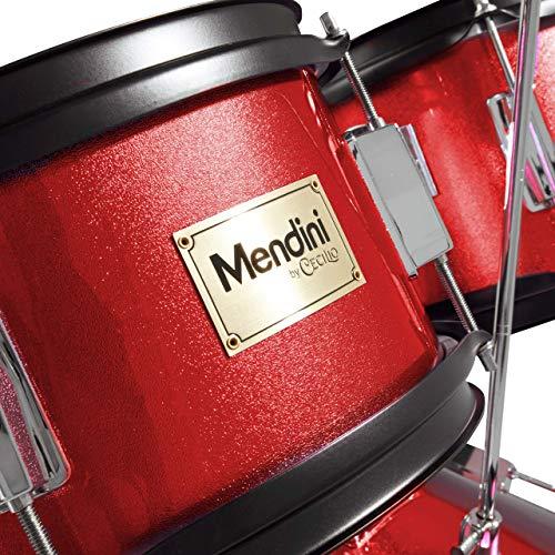 Mendini By Cecilio Drum Set For Kids/Junior - 16-Inch, 5-Piece, Red Bright...