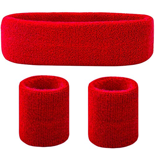 Favofit Headband/Wristbands for Women Men Girls Boys for Gym Workout & Yoga, 3 Piece Set, Super Comfy Sports Sweatbands for Football Baseball Basketball Soccer Tennis, Sweat Out of Your Eyes & Wrists