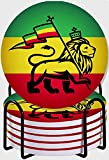 CIKYOWAY Posavasos para Bebidas,El león de Judá decoración Juego de 6 Posavasos absorbentes con Soporte de Metal/Fondo de Corcho,para Casa Restaurante Y Bar