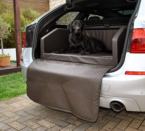Mayaadi Home Premium Hundebett - 90 x 70 cm - Hochwertiger Autositz für Deinen Hund - Autohundebett mit Schutzdecke - Kofferraum Bett Hunde - Kunstleder- Travel - Braun - S
