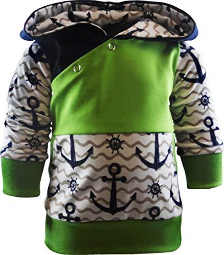 Baby/Kinder Kaputzen Langarm Hoodie Shirt ANKERDESIGN mit Bauchtasche (Farbe Anker Navy/Welle beige/Bund Lime) (Größe 134/146)