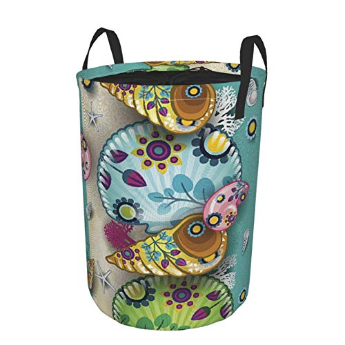 Laundry Basket Bags with HandlesBanner Marine Floral SeamlessWaterproof Washing Bin Foldable Dirty Hamper for Storage kids Clothes toy M