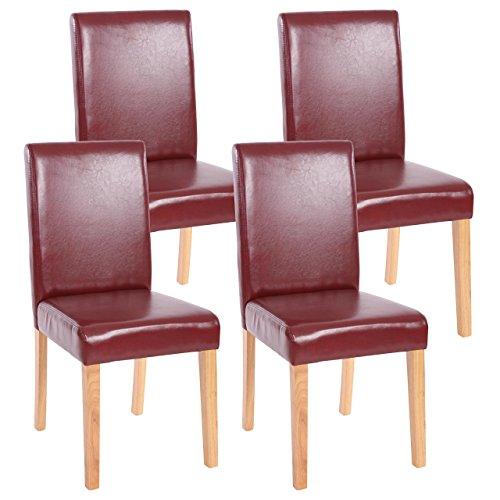 Mendler 4X Esszimmerstuhl Stuhl Küchenstuhl Littau - Kunstleder, rot-braun, helle Beine