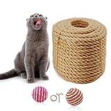 Cuerda de sisal 6mm para Gato Raspador Repare y reemplace el poste rascador Cat, Bricolaje Muebles para rascar: árbol para gatos, alfombra y tapete, juguetes para patear gatos, yute 10m/33 pies