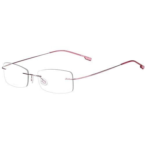 8dd9489ca3 Agstum Mens Womens Titanium Alloy Flexible Rimless Frame Prescription  Eyeglasses 51mm