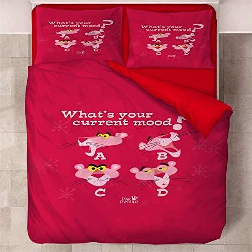 SL-YBB Juego de funda nórdica y 2 fundas de almohada de microfibra (5,140 x 210 cm + 50 x 70 cm x 2) de Pink Panther Pink