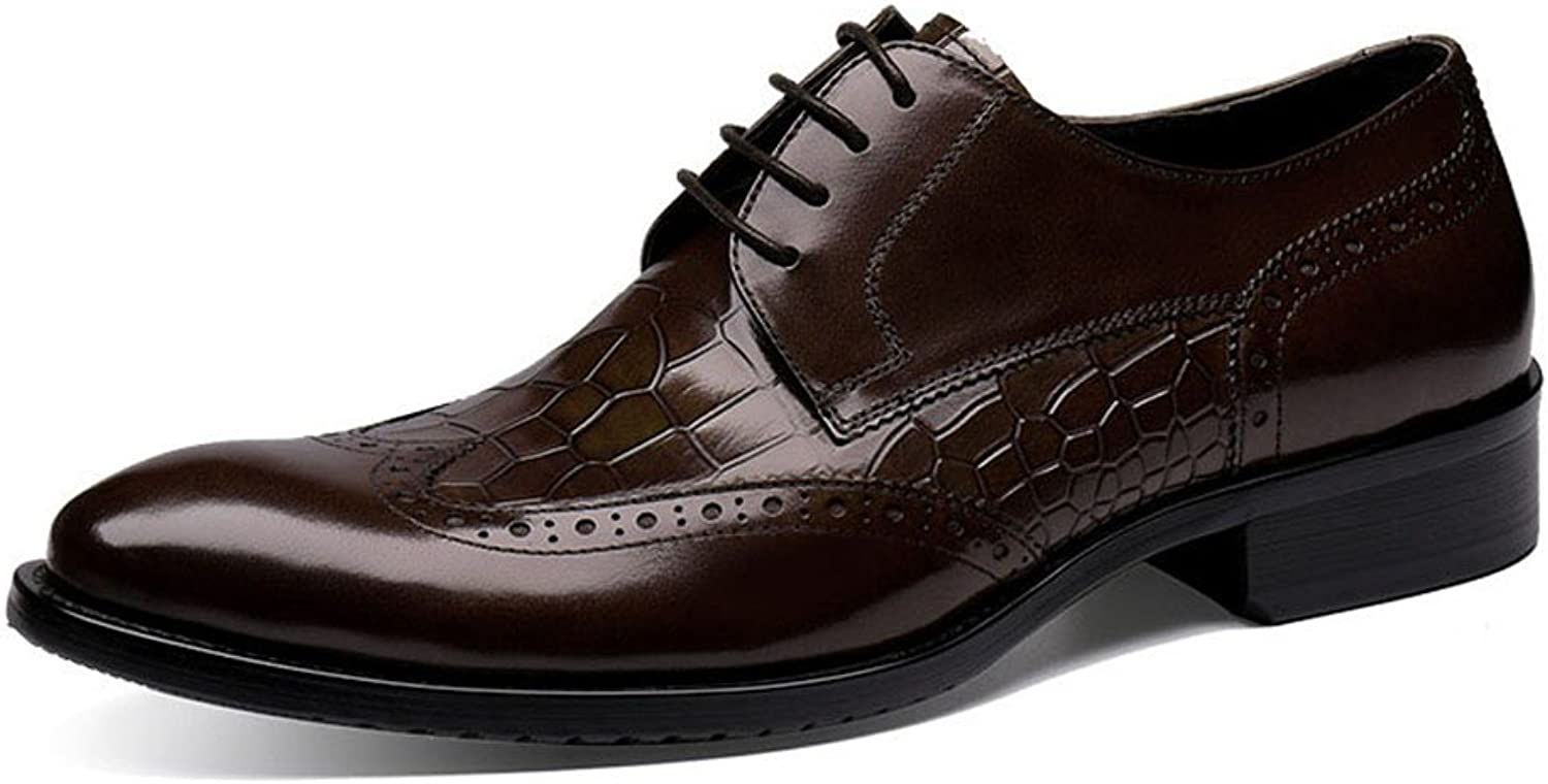 MedzRE Men's 2017 Fashion Wingtip Lace up Leather Derby shoes