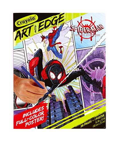Crayola Spiderverse Coloring Book Pages, 1 Full Color Spiderman Poster, 28 Pages, Gifts for Teens & Adults