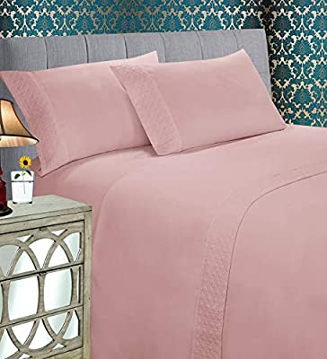 Elegant Comfort Luxury Best, Soft Coziest 3-Piece Bed Sheet Set! 1500 Thread Count Egyptian Quality | Quilted Design on Flat Sheet and Pillowcases | Wrinkle Free, 100% HypoAllergenic, Twin, Dusty Rose
