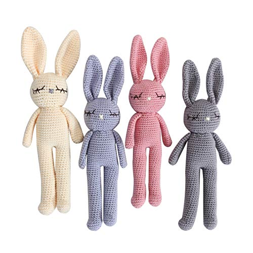 Moni's Choice Knitted Stuffed Bunny Rabbit Plush Baby Sleep Toy Newborn Present 100% Handmade Amigurumi Stuffed Toy Baby Photography (Grey)