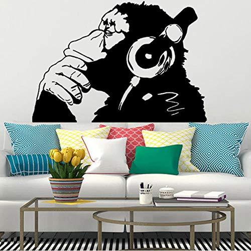 gao Vinyl muursticker aap met koptelefoon kleur chimp luisteren naar muziek op koptelefoon straat Graffiti Sticker 160Cmx112Cm