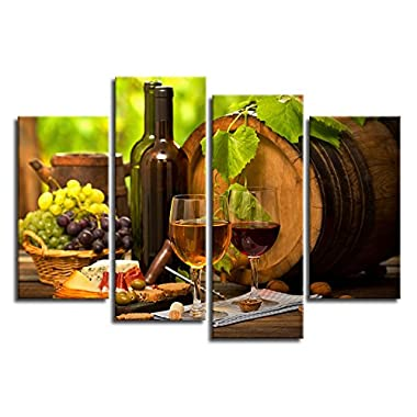 yearainn Kitchen Wall Art Canvas Artwork Fruits Grapes Wine Bottle Foods Canvas Painting - 4 Pieces Large Canvas Art Contemporary Nature Pictures for Dining Room Wall Decor Home Decoration