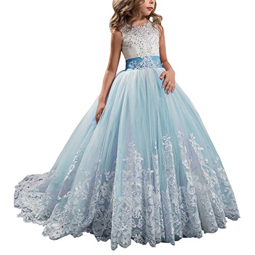 AnnaLin Princess Lilac Long Girls Pageant Dresses Kids Prom Puffy Tulle Ball Gown (6,Sky Blue)