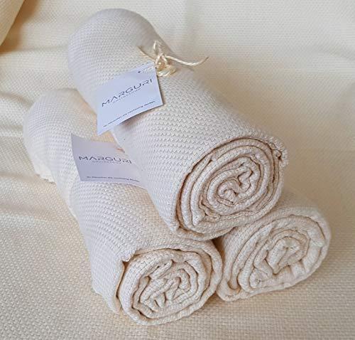 MARGURI - Badetuch King Towel - 180 x 100 cm - Handtuch XL, Strandtuch - 100% Bio-Baumwolle (vegan) - Farbe Natur (farbstofffrei)