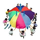 yifancy Rainbow Parachute Gymnastic Play Paracaídas Tienda de campaña con 8 asas, 10 pies Juego para niños 210T Ideal para interior/exterior y manta de picnic
