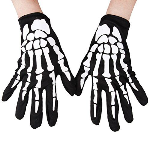 LUOEM Guantes de Dedos completos de Esqueleto Guantes de Mano elástica Unisex Guantes de Dedos completos de Carreras 1 par