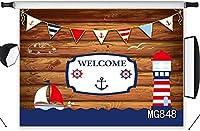 新しい航海灯台の背景7x5ftファブリック海の素朴な木製の壁のボート写真の背景男の子のベビーシャワーの誕生日パーティーの写真ブースの背景の小道具洗える