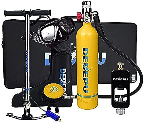 Equipo de Tanque de Buceo 1L 1L Mini Cilindro de oxígeno de Buceo portátil con 15-25 Minutos Capacidad S5000 Diving Tanque de oxígeno Conjunto Completo (Naranja)