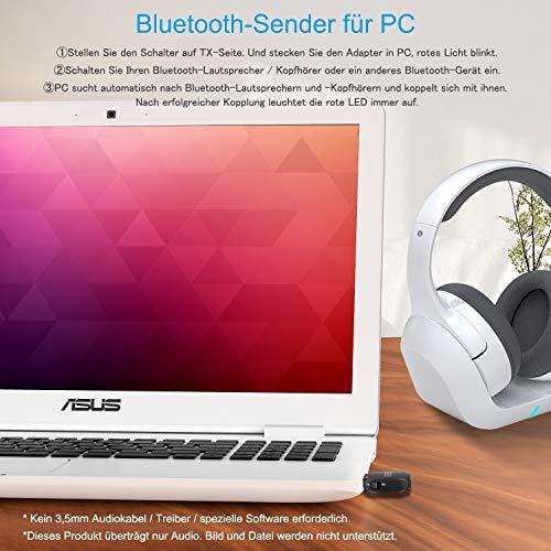 Bluetooth Adapter, Bluetooth 5.0 USB Dongle Stick, USB Audioadapter Wireless Transmitter und Empfänger mit 3,5mm digitales Audiokabel für PC,TV,Auto,Heim,Headset