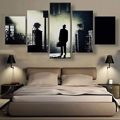 GIRDSS 5 Stück Leinwand Bilder Leinwanddrucke Der Exorzist Moderne Wandbilder XXL Wohnzimmer Wohnkultur Kreatives Malerei Geschenk Kunstwerk 150X80 cm