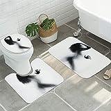 Laishutin Alfombras de baño Mujer Sombra Antideslizante Alfombra Ducha WC Alfombra Alfombra de Piso 3pcs / Set de baño Alfombra Mats Adecuado para baño y Cocina (Color : Gray, Size : One Size)