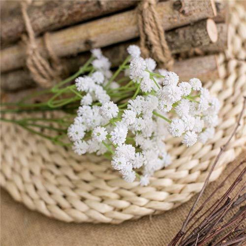 LucaSng 10 gypsophila artificial de látex real al tacto, flores de seda para bodas, fiestas, novias, decoración de oficina (blanco)