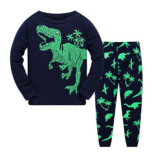 Garsumiss Jungen Schlafanzug Kinder Dinosaurier Pyjamas Sets Kleinkind Pjs Nachtwäsche 2-8 Jahre (116/5 Jahre, Grün/Dinosaurier)