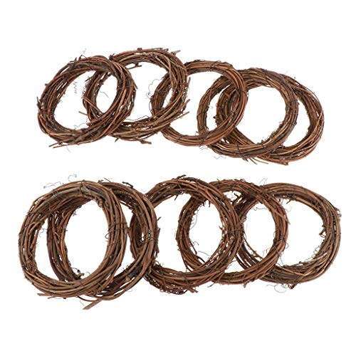 KODORIA 10pcs Natural Rattan Vine Ring Grapevine Wreath Vine Branch Wreath Decorative Wooden Twig for Craft, Decor, Door, House, Holiday - Round Shape