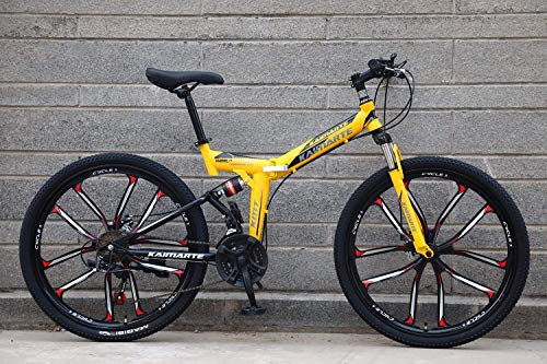 BIKE Folding Bike,Adult Folding Bicycle - 26-Inch Mountain Bike with a Speed of 21/24/27, Suitable for Terrain Such As Grass, Mountain Roads and Snow Yellow-27Speed,Yellow,27Speed