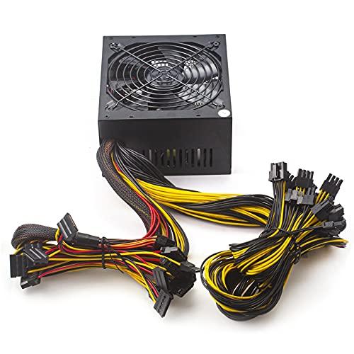 Bslemon 1800 W ATX Mining Netzteil Aktive PFC Schaltkreis-Netzteil für 8 GPU ETH Rig Ethernet Miner Kühler Lüfter Mining Schaltnetzteil mit 160-260 V Netzteil Mining Maschine Unterstützung