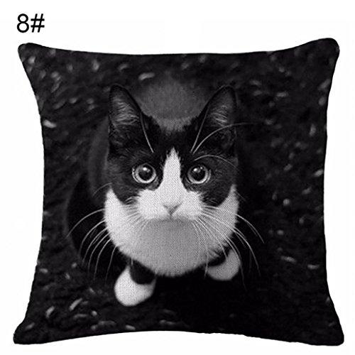 Lovely Cat Print Linen Pillow Case Cushion Throw Cover Home Sofa Cafe Decor