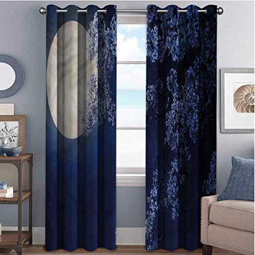 Night Sky Blackout curtains with grommets darken Full Moon Cherry Blossom 2 panels W52 x L63 Inch