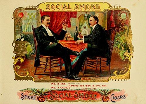 Vintage Tabak, Zigaretten und Zigarren Social Smoke Zigarren C1890's 250g, Hochglanz, A3, vervielfältigtes Poster