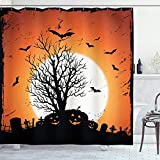 ABAKUHAUS Vintage Halloween Duschvorhang, Fledermäuse Kürbisse, mit 12 Ringe Set Wasserdicht Stielvoll Modern Farbfest & Schimmel Resistent, 175x200 cm, Orange Schwarz
