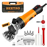 BEETRO 500W, Electric Professional Sheep Shears, Animal Grooming Clippers for Sheep Alpacas Goats and More, 6 Speeds Heavy Duty Farm Livestock Haircut, with an Extra Set of Shearing Blades