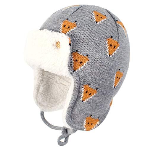 YONKINY Invierno Bebe Gorros de Punto con Forro Cálido Sombrero Aviador Tejer Earflap Gorros de Lana con Orejeras para Niña Niño (Talla S para 46-48cm, 2)