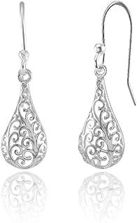 Sterling Silver Teardrop Filigree Polished Dangle Earrings