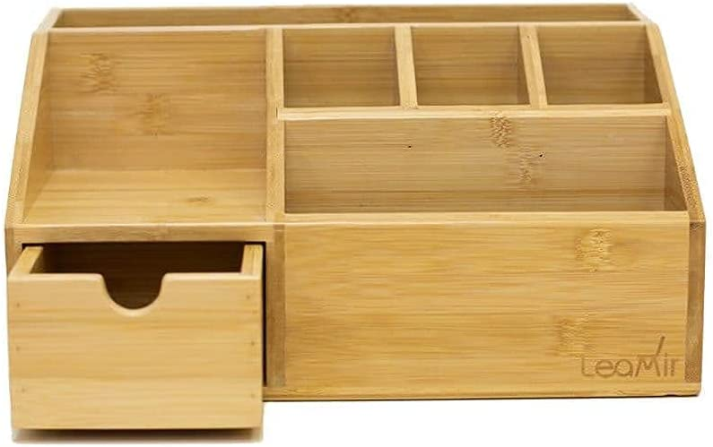 leaMir Bamboo Wood Desk Organizer For Office Desks,Home Office Storage for Pencils, Documents & Office Supplies Organizer with Drawer