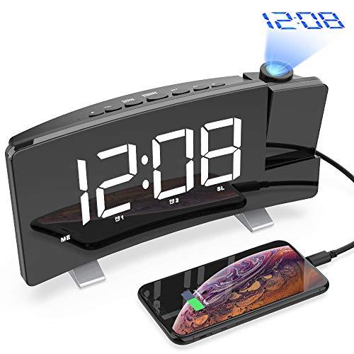 Projektionswecker, Radiowecker mit Projektor und Large LED Screen,Display abschaltbar dimmbar,Digitaler Wecker mit 2 Weckalarme,Snooze-Funktion,USB-Anschluss(Schwarz-2)