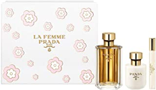 Prada La Femme 3 Piece Set For Women (3.4 Ounce Eau De Parfum Spray + 3.4 Ounce Body Lotion + 0.34 Ounce Eau de Parfum Spray Rollon)