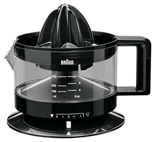 Braun TributeCollection CJ3000 BK - Spremiagrumi elettrico, 20 W, 350 ml, quantità di polpa regolabile, adatto per lavastoviglie, colore: nero